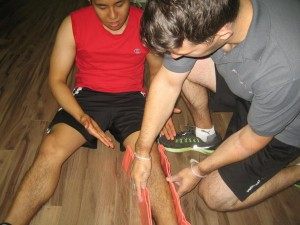 Splinting a Broken leg using a SAM splint